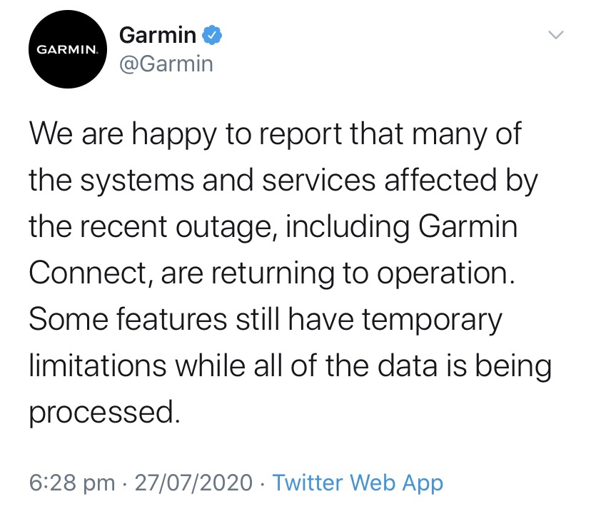 Garmin's outage statement